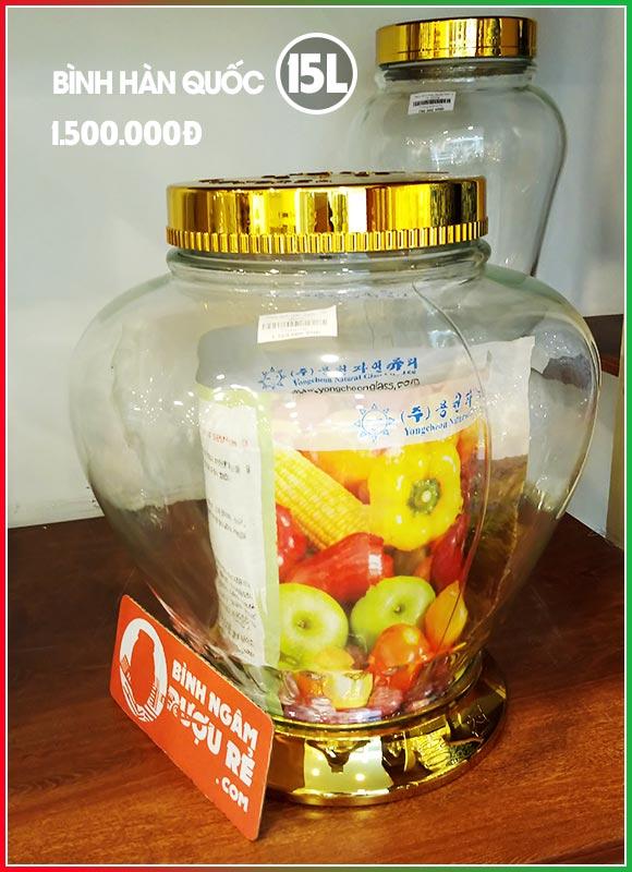 Bình ngâm rượu thủy tinh Hàn Quốc 15L