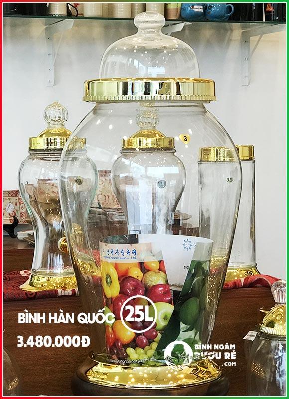 Bình ngâm rượu thủy tinh Hàn Quốc 25L cỡ lớn