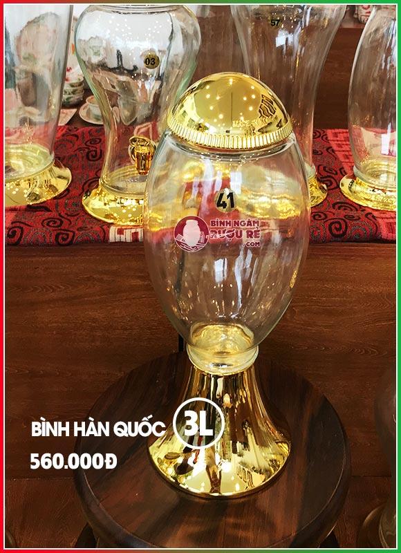 Bình ngâm rượu thủy tinh Hàn Quốc 3L (chân cao)