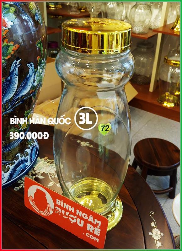 Bình ngâm rượu thủy tinh Hàn Quốc 3L (bình bầu)