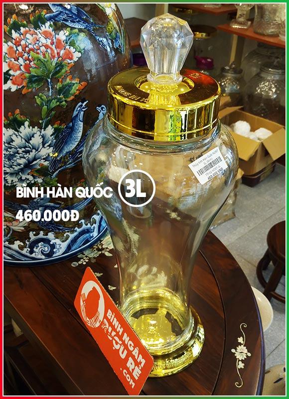 Bình ngâm rượu thủy tinh Hàn Quốc 3L (bình sâm)