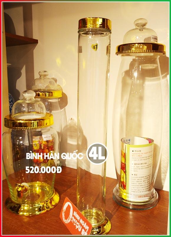 Bình ngâm rượu thủy tinh Hàn Quốc 4L (bình trụ cao)