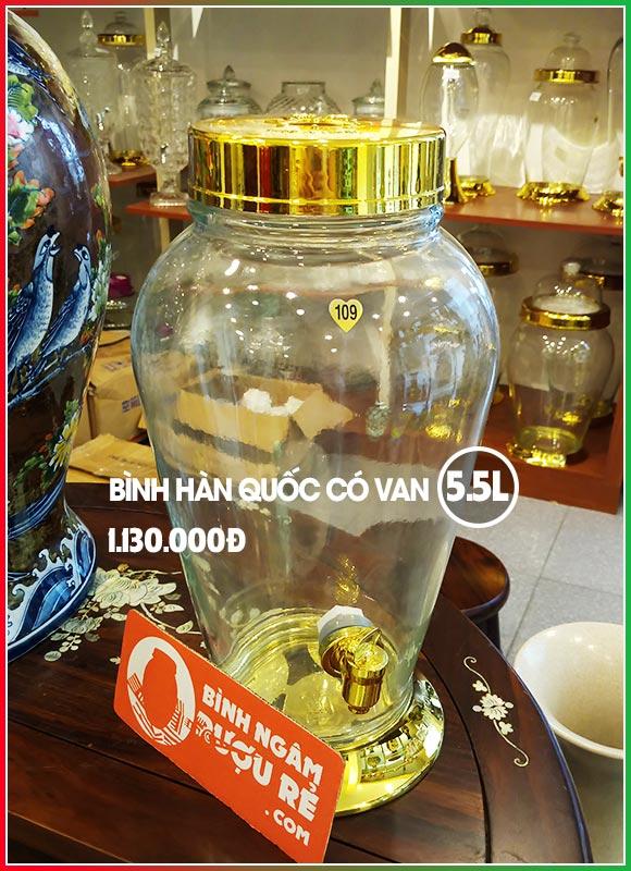 Bình ngâm rượu thủy tinh Hàn Quốc 5L5 có vòi (van)