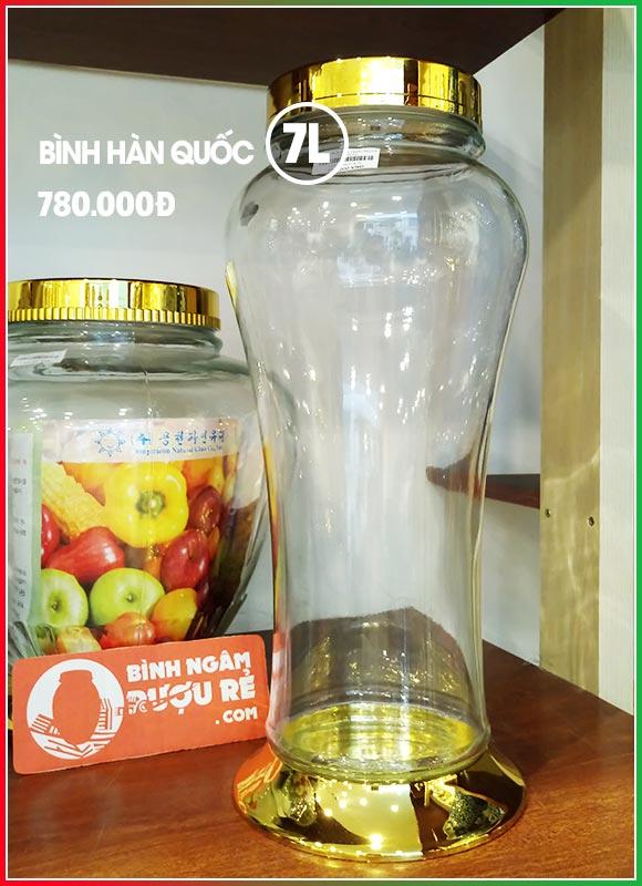 Bình ngâm rượu thủy tinh Hàn Quốc 7L cao cấp