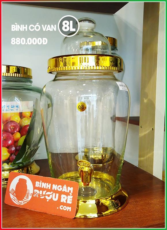 Bình thủy tinh ngâm rượu sâm 8L có vòi (van)