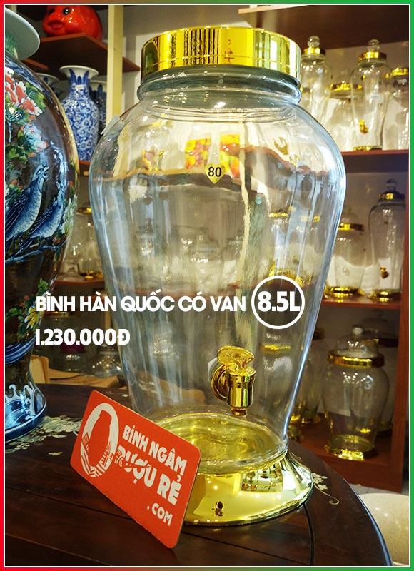 Bình ngâm rượu thủy tinh Hàn Quốc 8L5 có vòi (van)