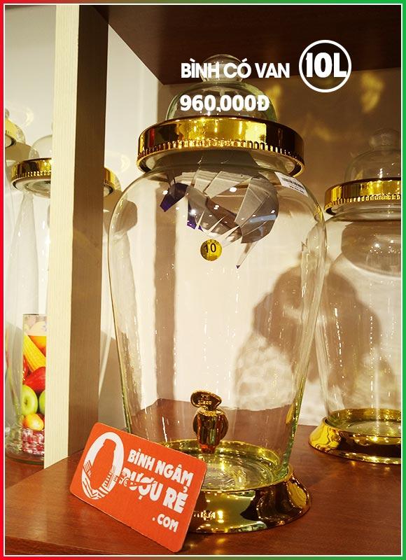 Bình thủy tinh ngâm rượu sâm 10L có vòi (van)