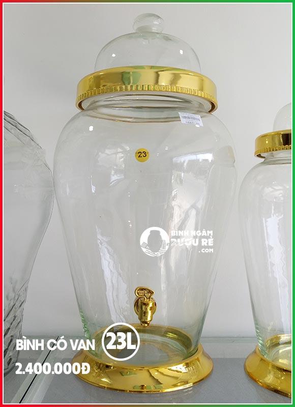 Bình thủy tinh ngâm rượu sâm 23L có vòi (van)