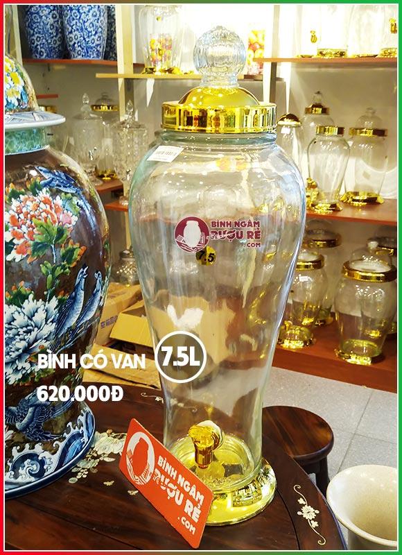 Bình thủy tinh ngâm rượu sâm 7L5 có vòi (van)