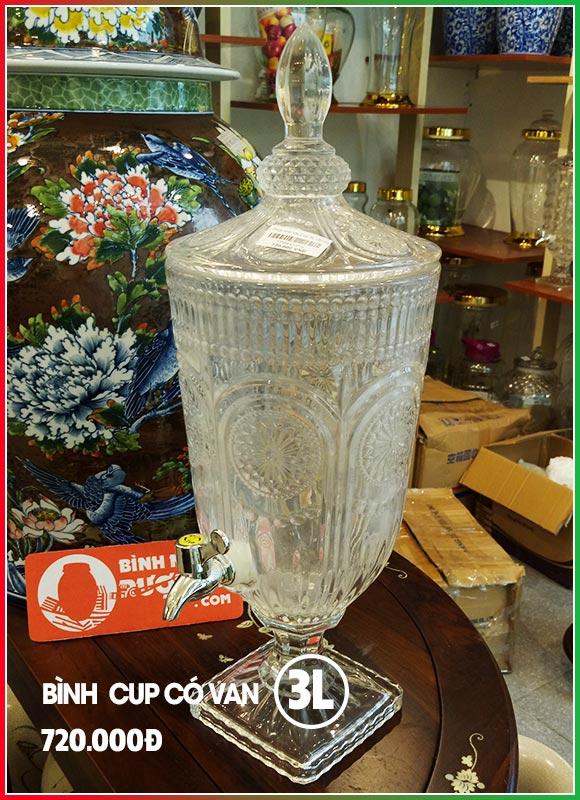 Bình ngâm rượu 3L có vòi (van) - Bình rượu đẹp hình Cup