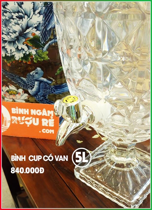 Bình ngâm rượu 5L hình Cup - Bình rượu thủy tinh đẹp