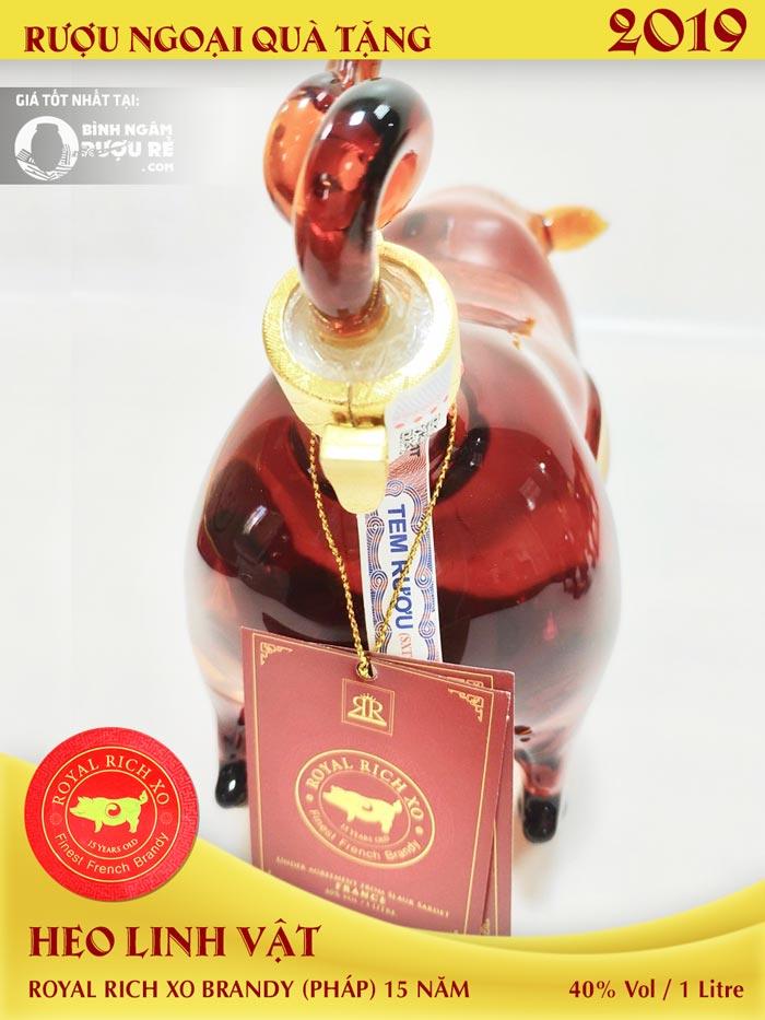 Rượu heo Pháp Royal Rich XO Brandy 2019 rượu biếu tết giá tốt nhất