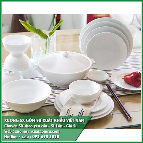 Cung cấp đĩa sứ trắng giá rẻ - bát đĩa sứ in logo xuất khẩu